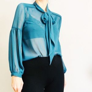 ModCloth sheer tie blouse